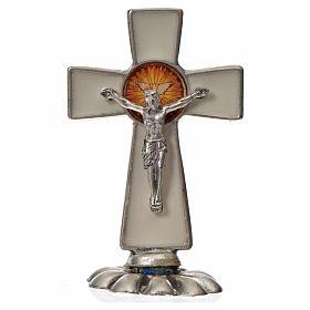 Croce Spirito Santo da tavolo smalto bianco zama 5,2x3,5 cm s3
