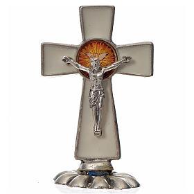 Croce Spirito Santo da tavolo smalto bianco zama 5,2x3,5 cm s1