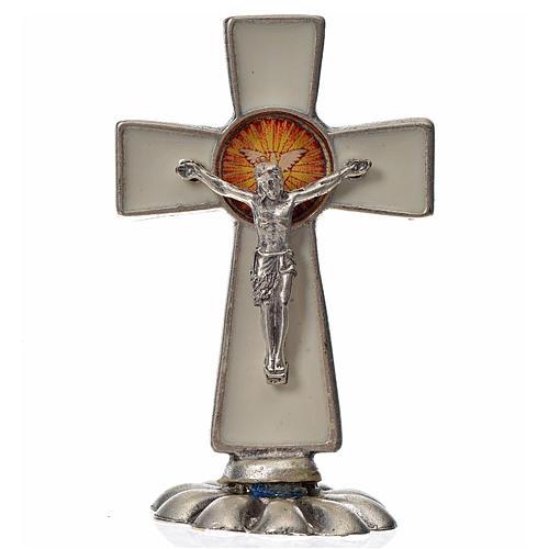 Croce Spirito Santo da tavolo smalto bianco zama 5,2x3,5 cm 1