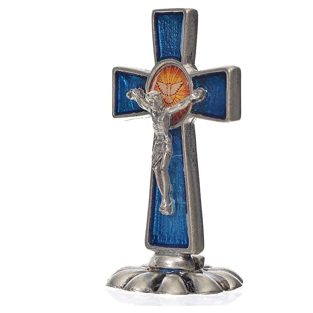 Croce Spirito Santo da tavolo smalto blu zama 5,2x3,5 cm 4