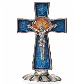 Croce Spirito Santo da tavolo smalto blu zama 5,2x3,5 cm s1