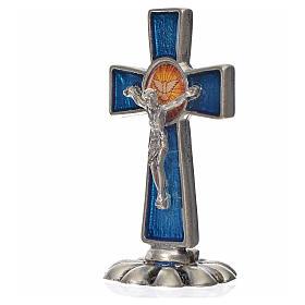 Croce Spirito Santo da tavolo smalto blu zama 5,2x3,5 cm s2