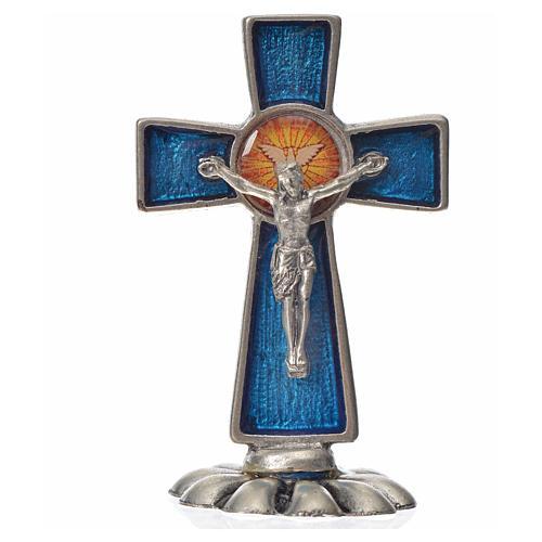 Croce Spirito Santo da tavolo smalto blu zama 5,2x3,5 cm 3
