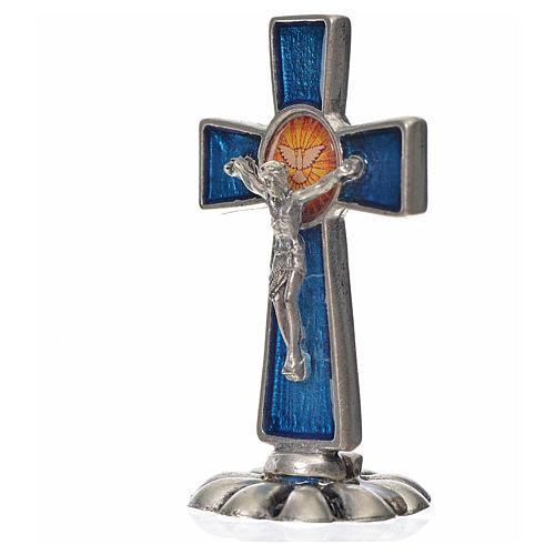 Croce Spirito Santo da tavolo smalto blu zama 5,2x3,5 cm 2