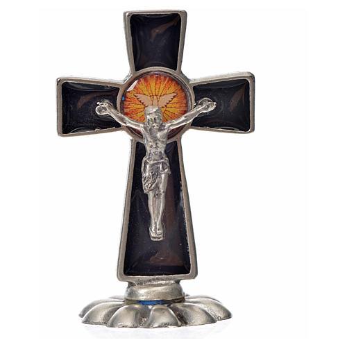 Holy Spirit cross, in zamak and black enamel 5.2x3.5cm 3