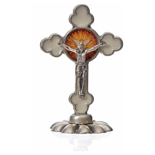 Cruz espíritu santo trilobulada de mesa esmalte blanco 5.2x3.5cm 3