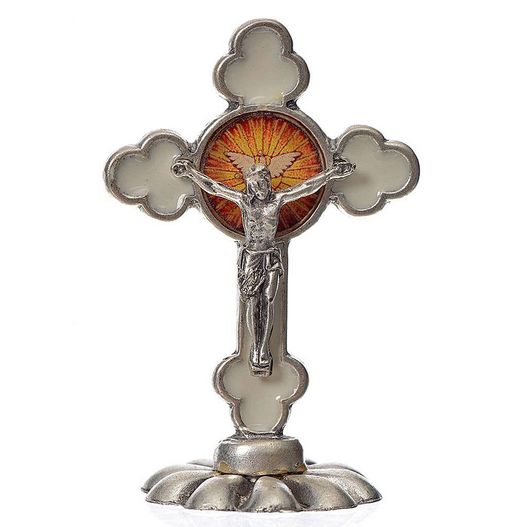 Holy Spirit table cross, trefoil in zamak and white enamel 5.2x3 4