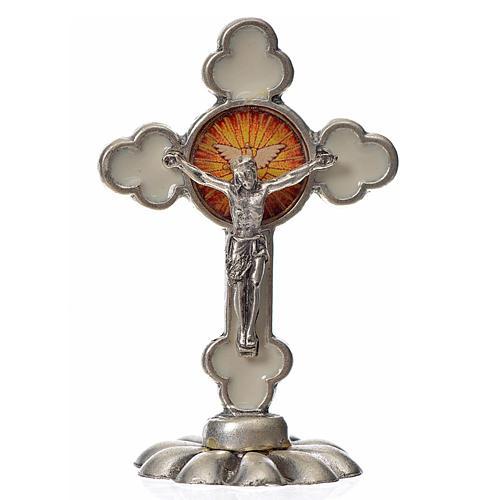 Holy Spirit table cross, trefoil in zamak and white enamel 5.2x3 1