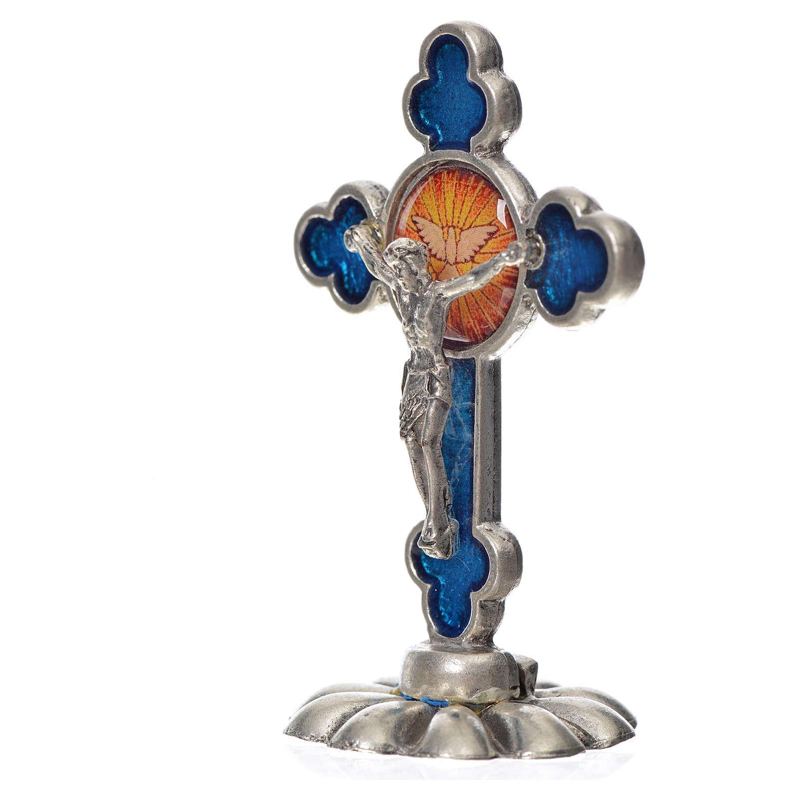 Cruz espíritu santo trilobulada de mesa esmalte azul 5.2x3.5 cm 4