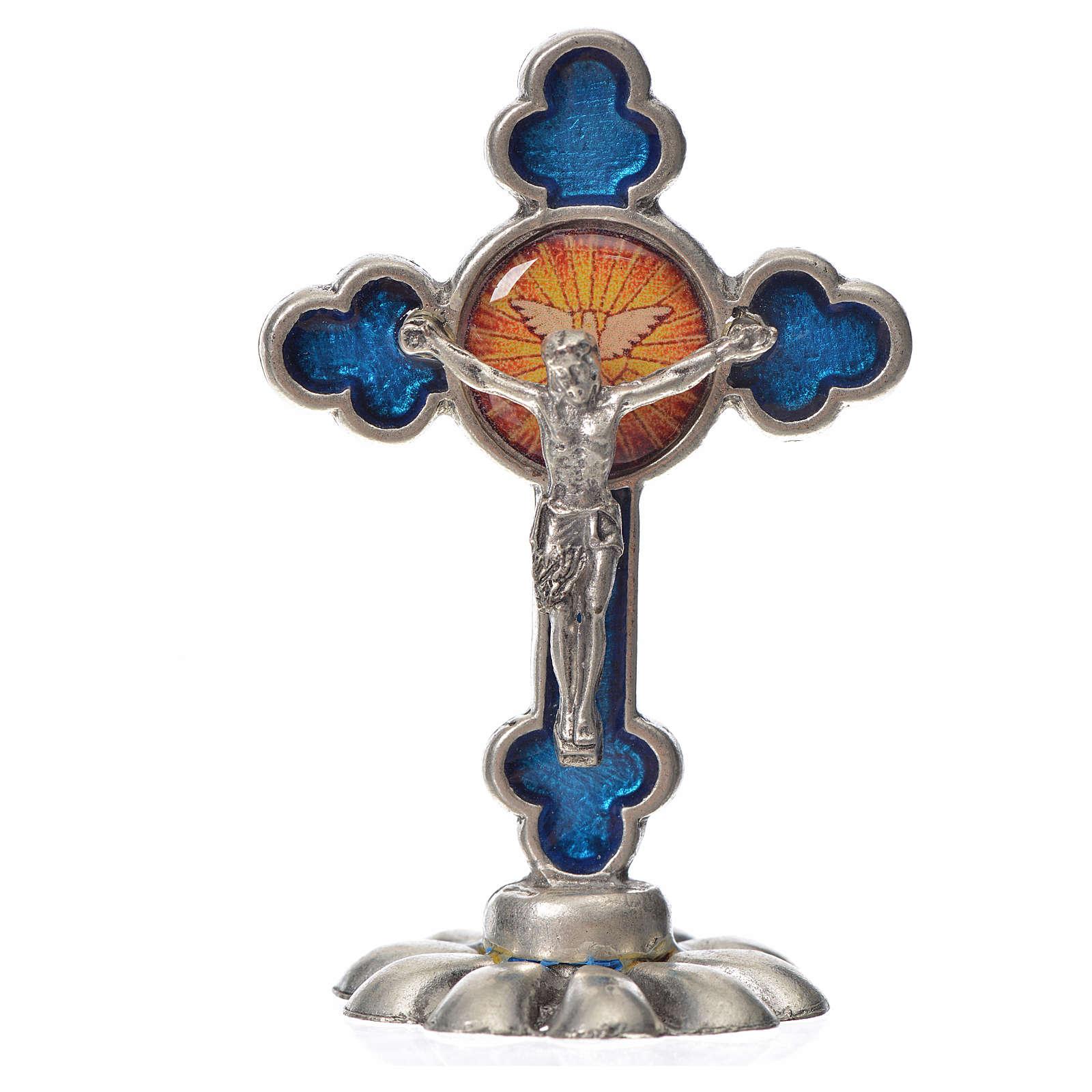 Croce Spirito Santo trilobata da tavolo zama smalto blu 5,2x3,5 4