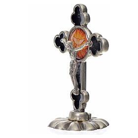 Holy Spirit table cross, trefoil in zamak and black enamel 5.2x3 s4