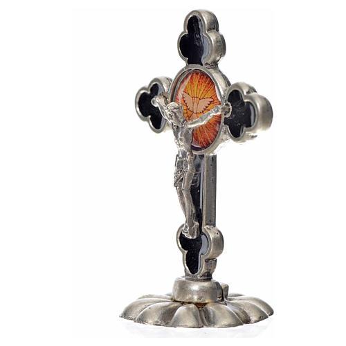 Holy Spirit table cross, trefoil in zamak and black enamel 5.2x3 4
