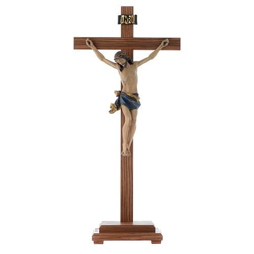 Croce da tavolo mod. Corpus legno Valgardena Antico Gold 1