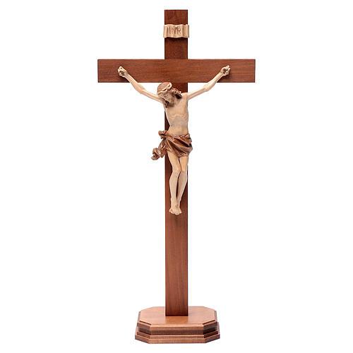 Cruz de mesa modelo Corpus madera Valgardena varias patinaduras 1