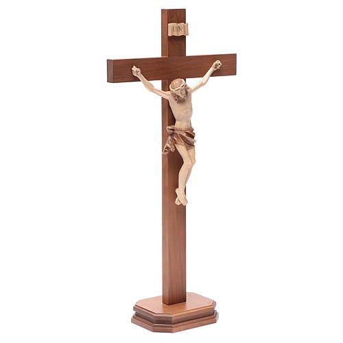 Cruz de mesa modelo Corpus madera Valgardena varias patinaduras 3