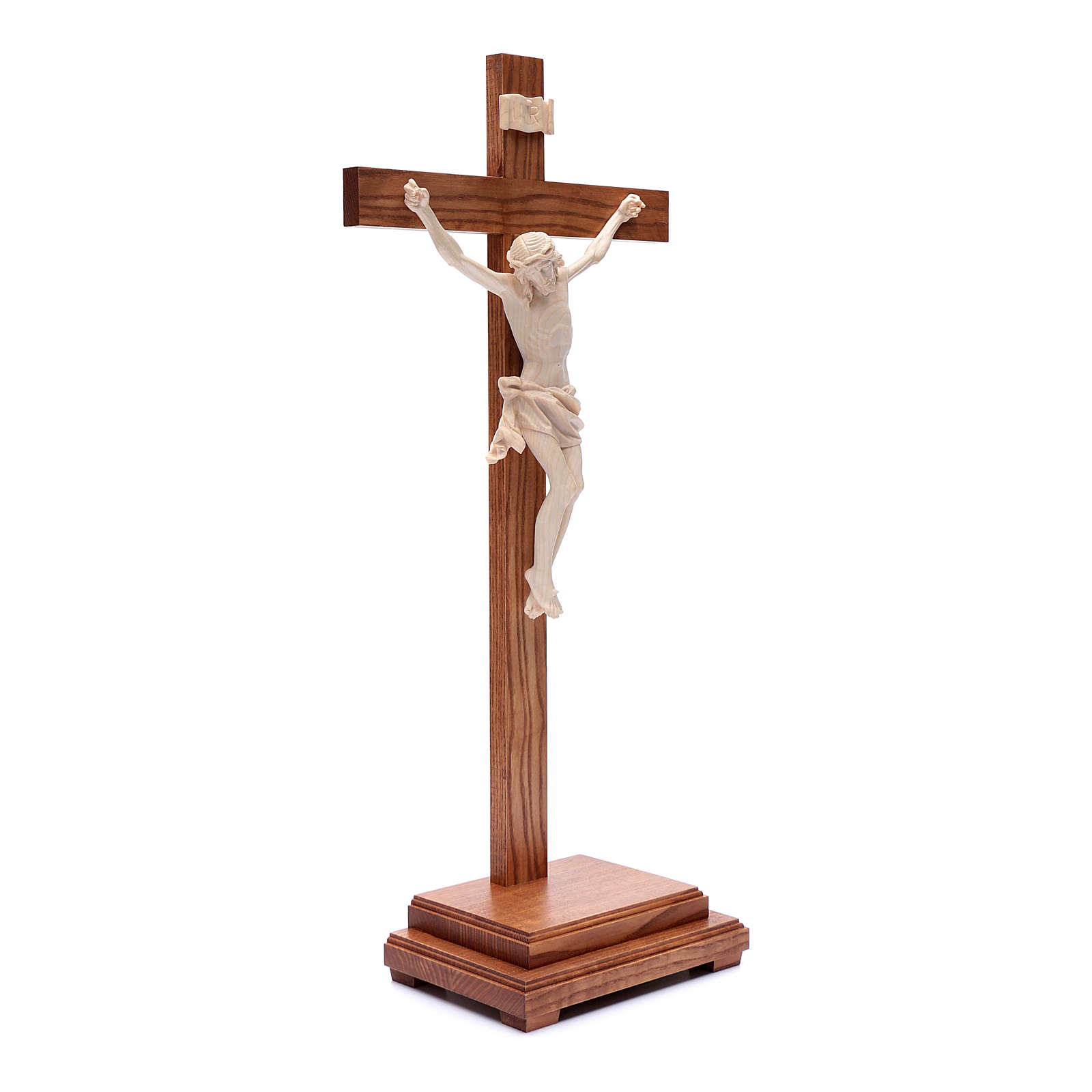 Natural wax table crucifix, Corpus model in Valgardena wood 4