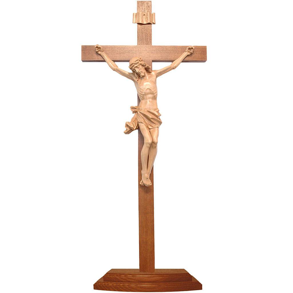 Patinated table crucifix, Corpus model in Valgardena wood 4