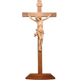 Patinated table crucifix, Corpus model in Valgardena wood s1