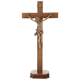 Patinated table crucifix, Corpus model in Valgardena wood s1