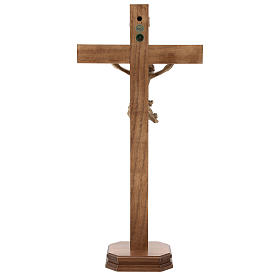 Patinated table crucifix, Corpus model in Valgardena wood s5