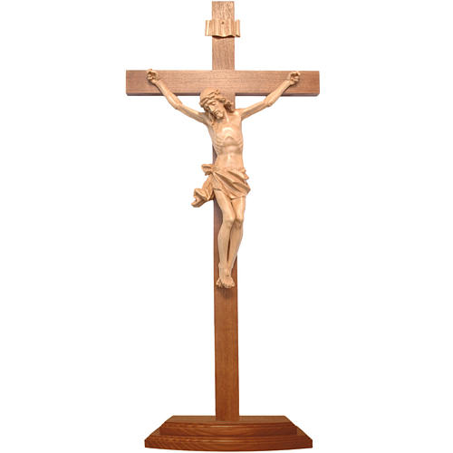 Patinated table crucifix, Corpus model in Valgardena wood 1