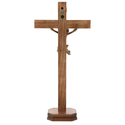 Patinated table crucifix, Corpus model in Valgardena wood 5