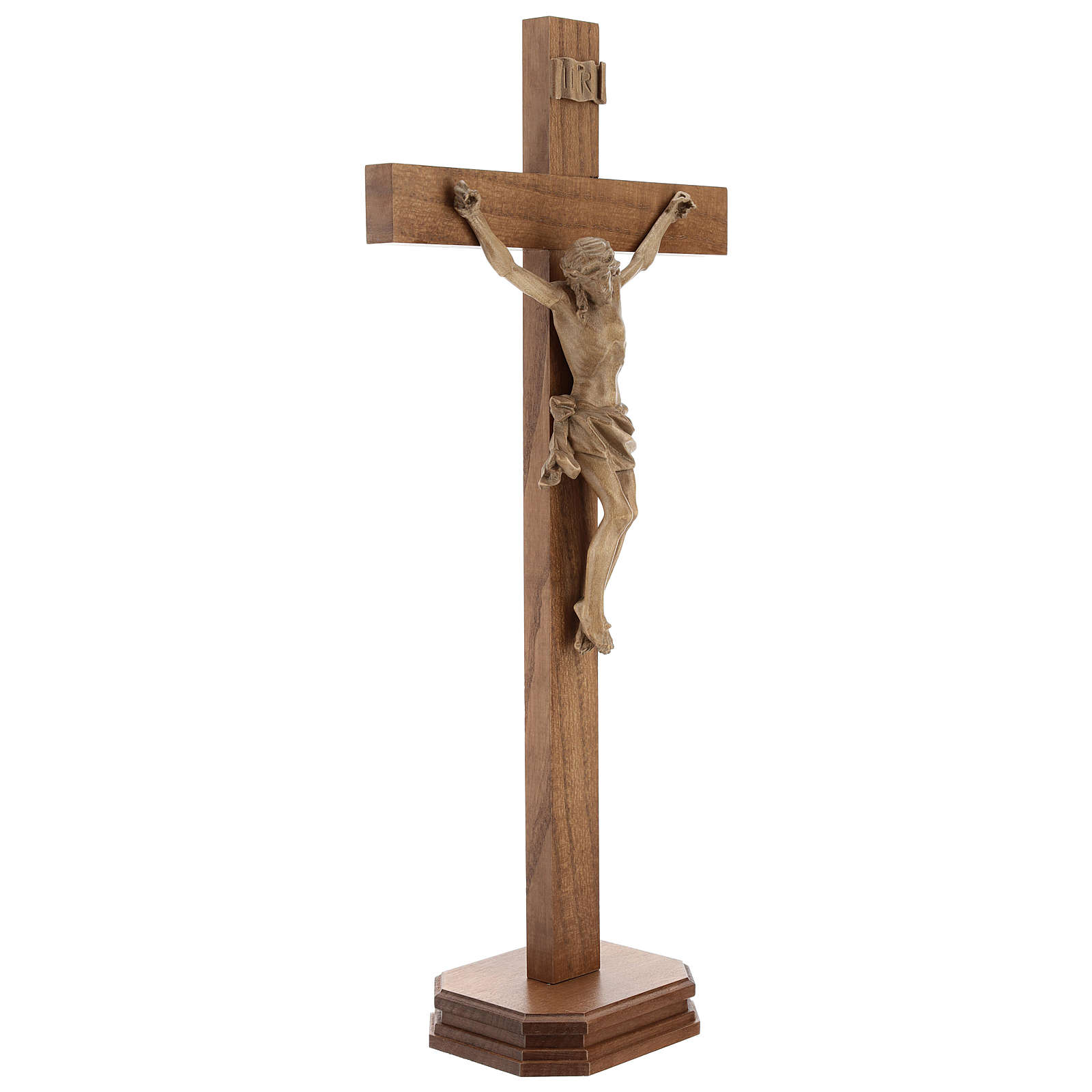 Patinated table crucifix, Corpus model in Valgardena wood 4