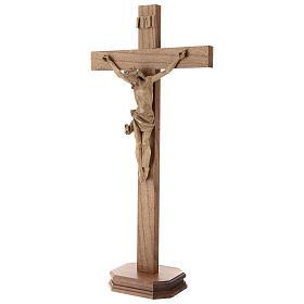 Patinated table crucifix, Corpus model in Valgardena wood s3