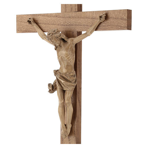 Patinated table crucifix, Corpus model in Valgardena wood 2