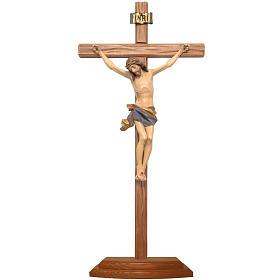 Croce da tavolo scolpito 25cm mod. Corpus legno Valgardena Antic s1
