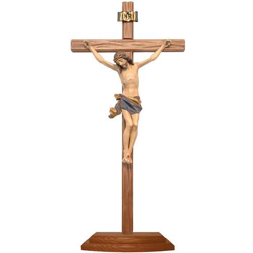 Croce da tavolo scolpito 25cm mod. Corpus legno Valgardena Antic 1