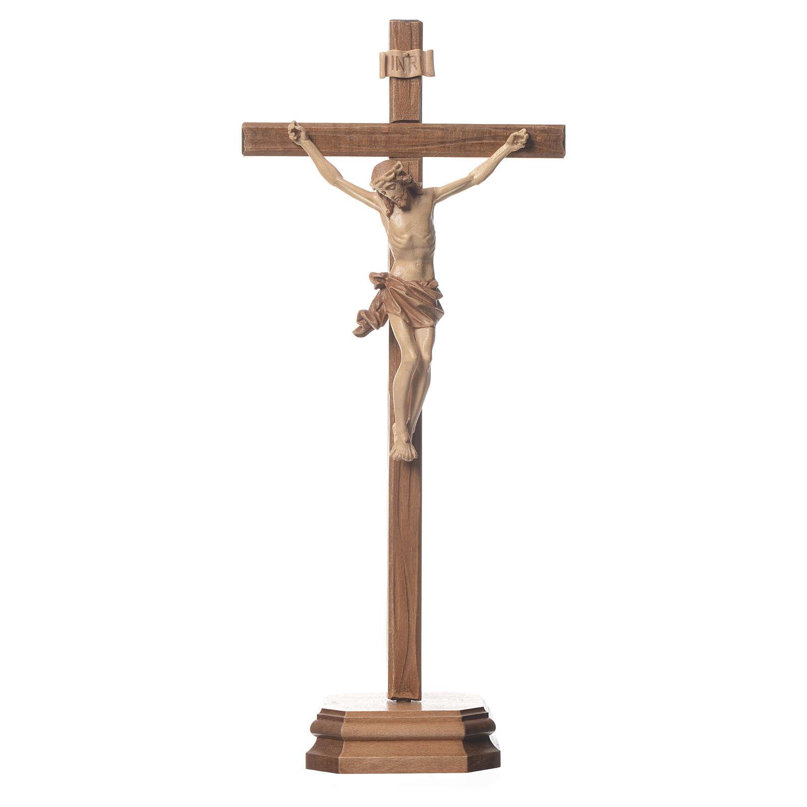 Crucifix à poser sculpté bois patiné multinuances mod. Corpus 4