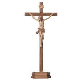 Crucifix à poser sculpté bois patiné multinuances mod. Corpus s1