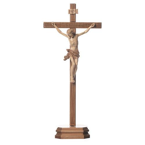 Crucifix à poser sculpté bois patiné multinuances mod. Corpus 1