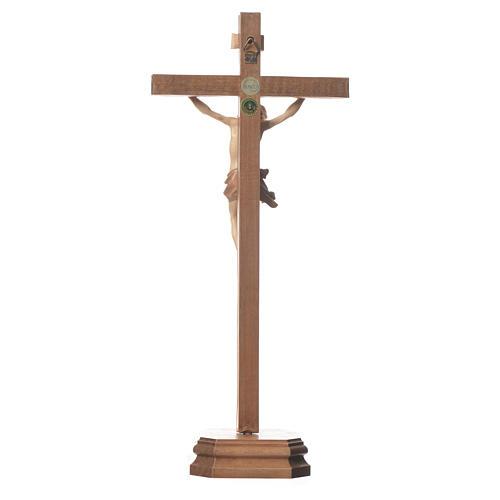 Crucifix à poser sculpté bois patiné multinuances mod. Corpus 3
