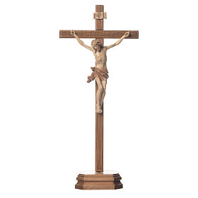 Sculpted table crucifix, Corpus model in multi-patinated Valgard s1