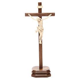 Croce da tavolo scolpito mod. Corpus legno Valgardena naturale c s1