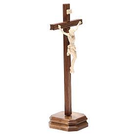 Croce da tavolo scolpito mod. Corpus legno Valgardena naturale c s4