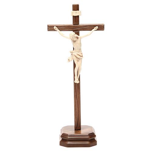 Croce da tavolo scolpito mod. Corpus legno Valgardena naturale c 1