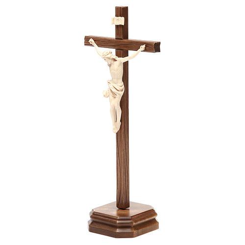 Croce da tavolo scolpito mod. Corpus legno Valgardena naturale c 2