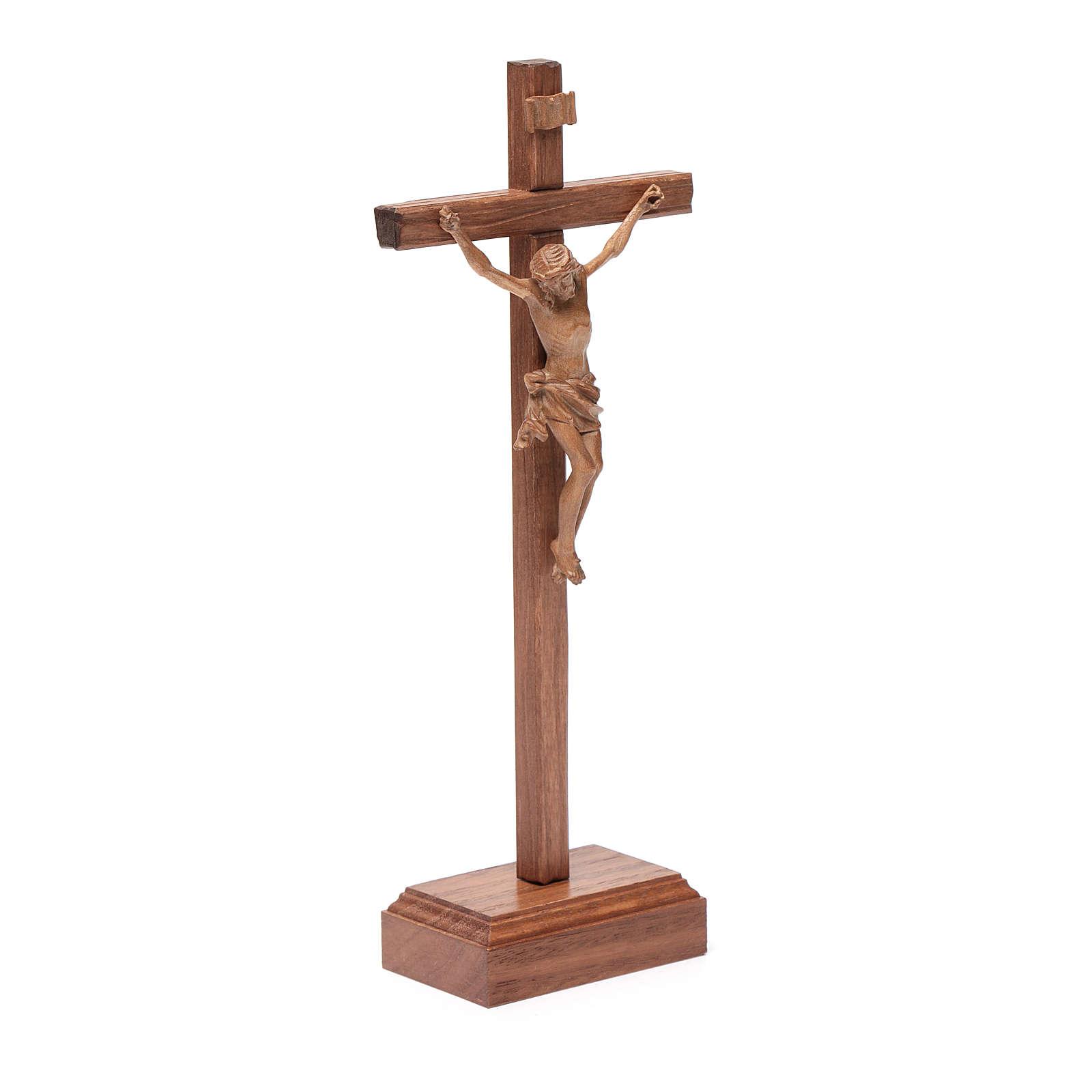 Croce da tavolo scolpito mod. Corpus legno Valgardena patinato 4