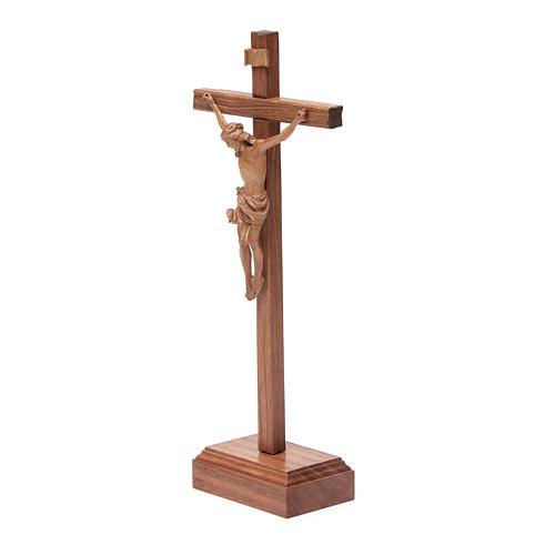 Croce da tavolo scolpito mod. Corpus legno Valgardena patinato 2