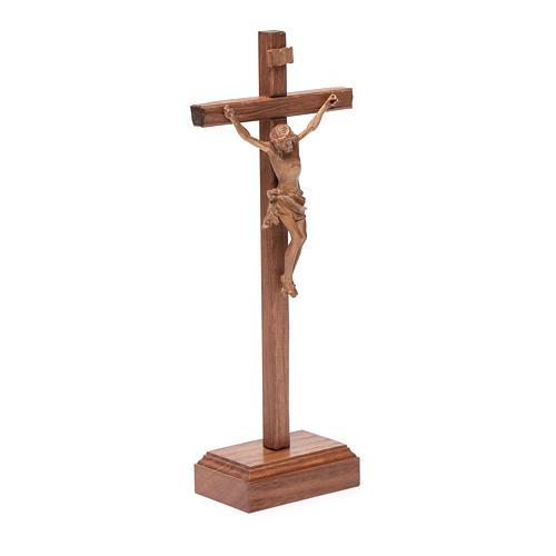 Croce da tavolo scolpito mod. Corpus legno Valgardena patinato 3