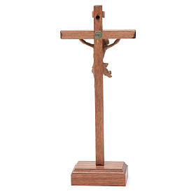 Sculpted table crucifix, Corpus model in patinated Valgardena wo s4