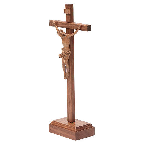 Sculpted table crucifix, Corpus model in patinated Valgardena wo 2