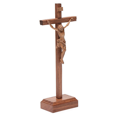 Sculpted table crucifix, Corpus model in patinated Valgardena wo 3