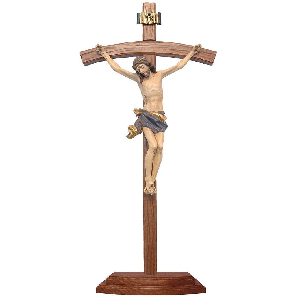 Crocifisso da tavolo scolpito legno Valgardena Antico Gold 4