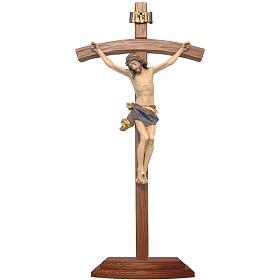 Crocifisso da tavolo scolpito legno Valgardena Antico Gold s1