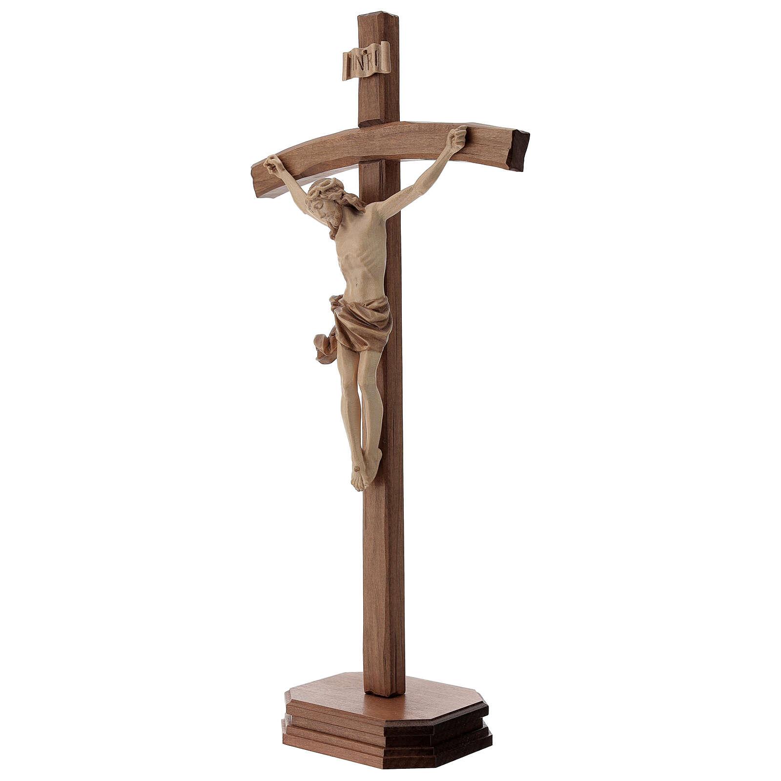 Crucifijo de mesa tallado madera Valgardena varias patinaduras 4