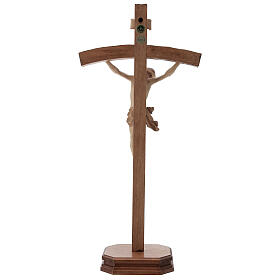 Crucifijo de mesa tallado madera Valgardena varias patinaduras s6